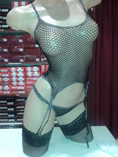 sexy/erotico corset-portaligas,tanga red y medias liga red
