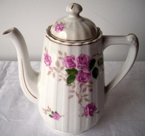 shabby! cafetera y azucarero porcelana española santa clara