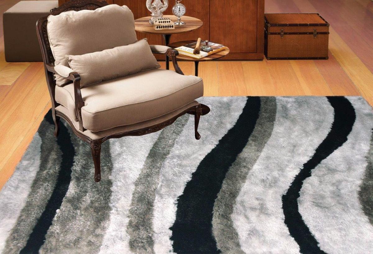 Shaggy 3x2m 2x3m Luxor Design Onda Prata Pelo 30mm Viastar R  -> Tapetes Para Sala Luxor