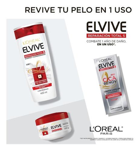 shampoo 2 en 1 reparacion total 5 elvive x400ml loreal paris