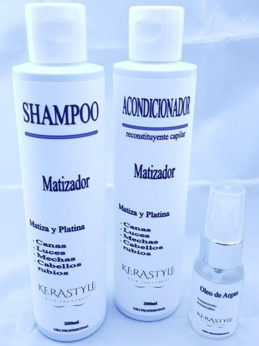 shampoo + aco. matizador 200ml + óleo de argan 30ml