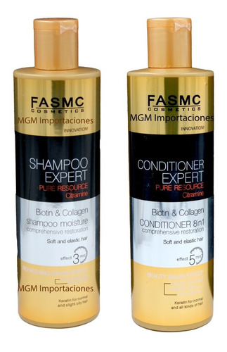 shampoo + acondicionador expert biotin & collagen 500ml