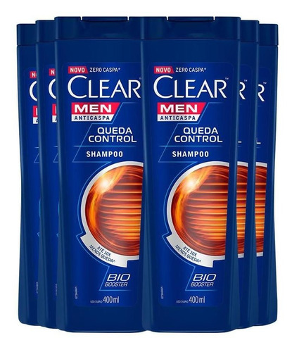 shampoo anticaspa clear queda control 400ml - 6un