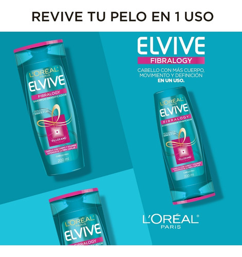 shampoo cabellos finos fibralogy x200ml elvive loreal paris