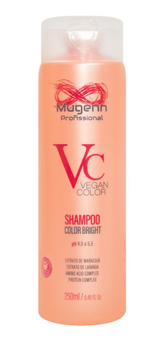 shampoo color bright vegano mugenn cosméticos 250ml