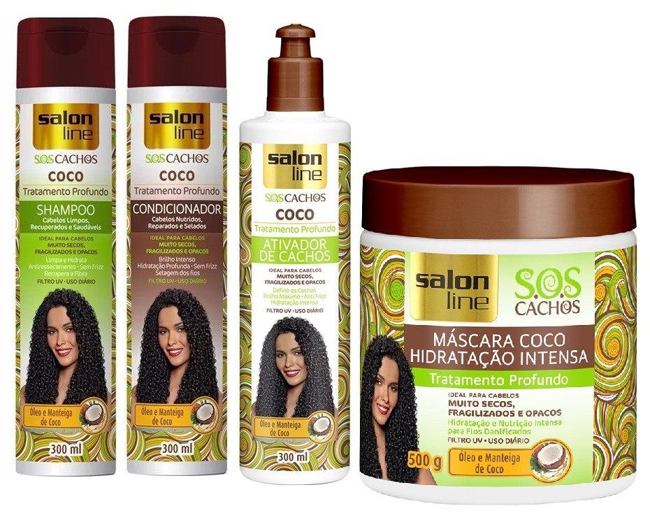 a28ac3e71 Shampoo + Cond+ativador+máscara Salon Line S.o.s Cachos Coco - R$ 68 ...