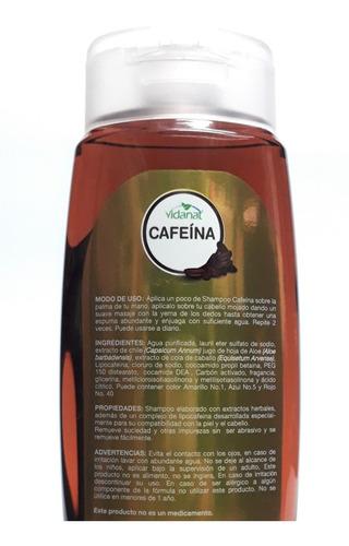 shampoo de cafeina vidanat 500ml fortificante anti caida