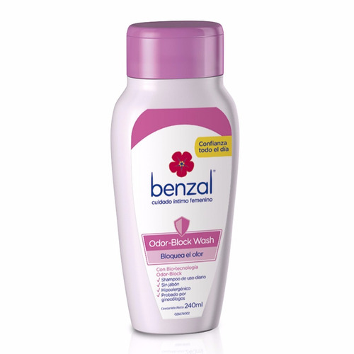shampoo íntimo benzal  odor block wash 240 ml shampoo íntimo