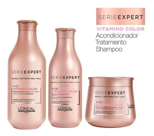 shampoo loreal + acondicionador + máscara vitamino color