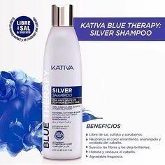 shampoo morado matizador blue therapy silver kativa sin sal