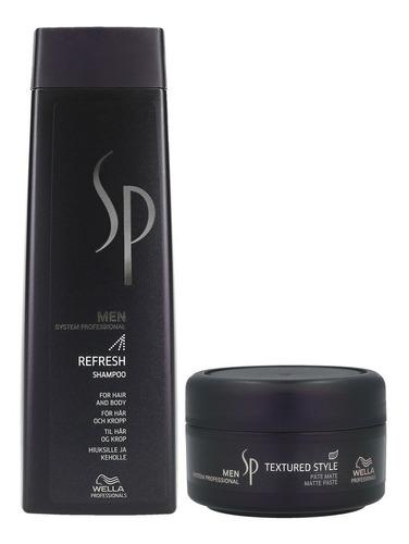 shampoo refresh cuerpo y cabello + cera pasta mate wella men