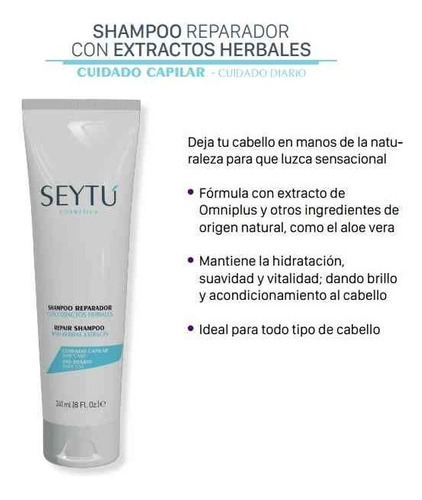 shampoo reparador con extractos herbales seytú