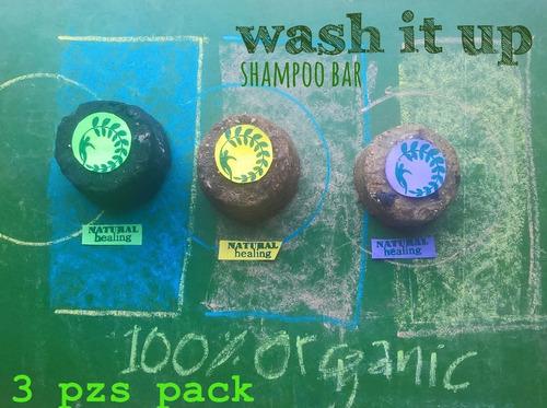 shampoo  solido en barra 100% organico 3 pzs pack! trio