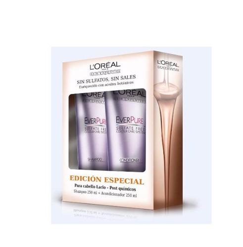 shampoo y acondicionador l´oréal  ever pure -250ml