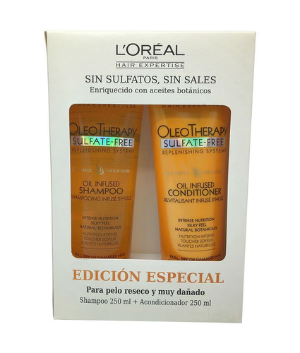 shampoo y acondicionador l´oréal oleo theraphy -250ml