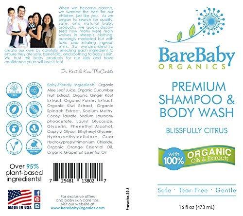 shampoo y lavado corporal barebaby organics para bebés 16 o