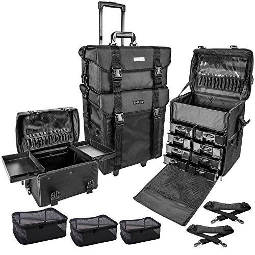 shany cosmetics 2 compartment soft black rolling trolley mak