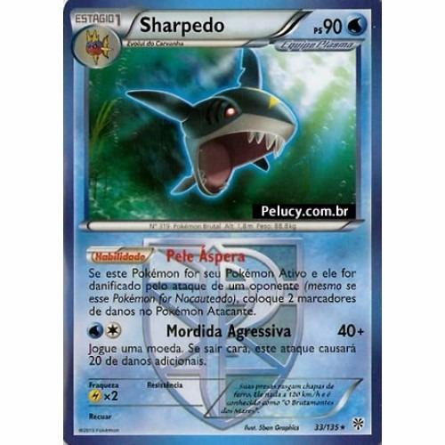 sharpedo - pokémon água raro - 33/135 - pokemon card game