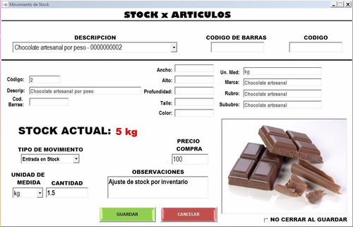 shasta, programa facturación venta, stock, cajas, precios