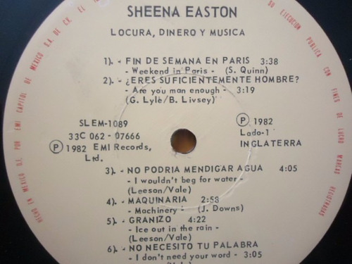 sheena easton / madness, money and music vinyl lp acetato