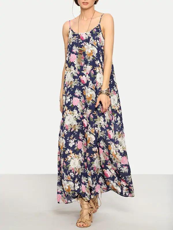 0b4db289c Shein Moda Asiatica Maxi Vestido Flores Casual Playa -   299.98 en ...