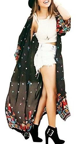 shermie banadores gasa de impresion largo kimono caftan muje