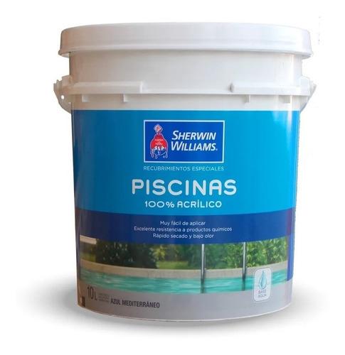 sherwin w piscinas 10lts pintura azul base acuosa proteccion