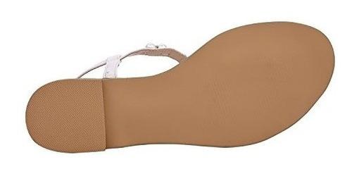 shesole mujeres planas blancas perlas playa sandalias de nov