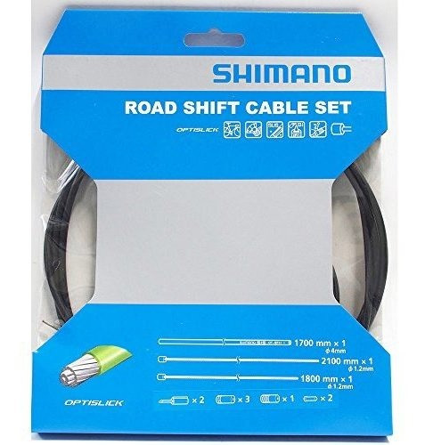 shimano optislick derailleur cable and housing set black, on