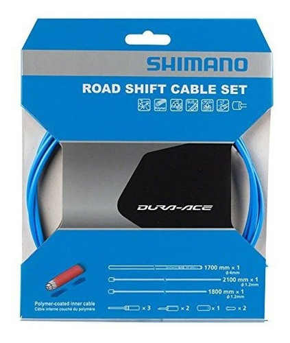 shimano polymer road bicycle shift cable set (blue)