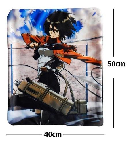 shingeki no kyojin mikasa funda de almohada de 40 x 50cm