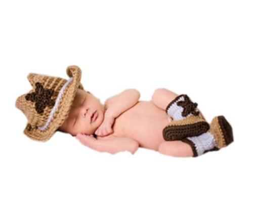 shinystar bebé hecho a mano crochet knit cowboy hat botas fo