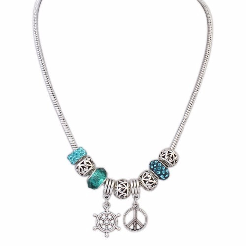 ship steering wheel and peace sign necklace
