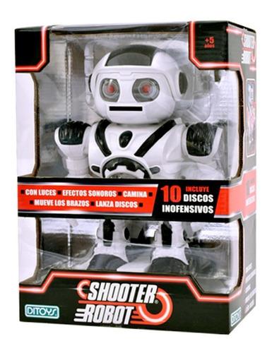 shooter robot lanza discos con luz y sonido original ditoy