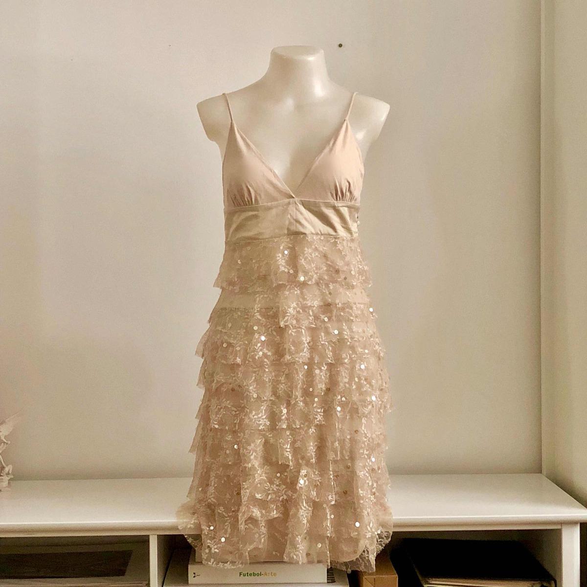 a8fe28702e9 shop 126 vestido de renda com babados tamanho m novo. Carregando zoom.
