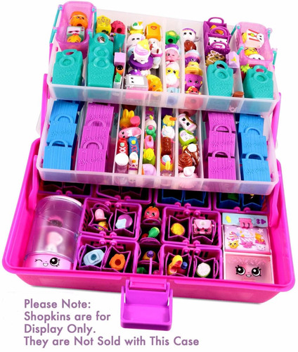 shopafun organizer - shopkins compatible carrying case pink
