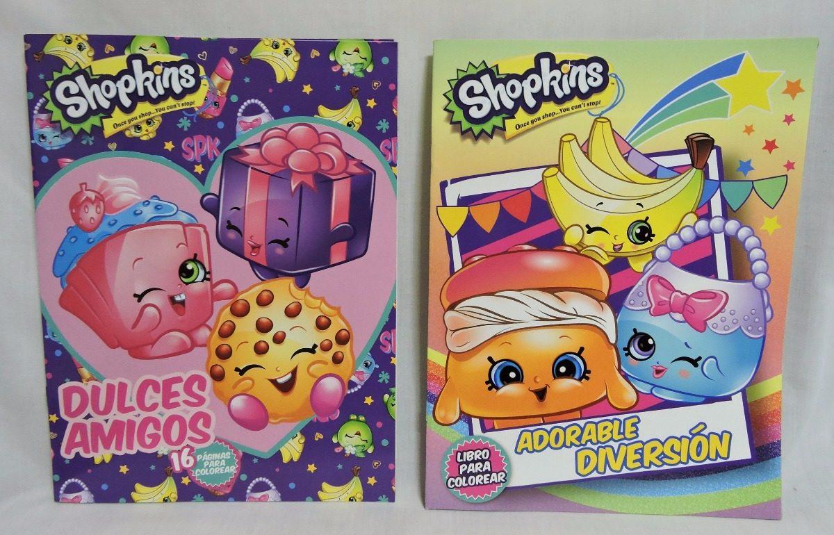 Shopkins Fiestas Libros Colorear 10 Pz 16 Paginas Recuerd