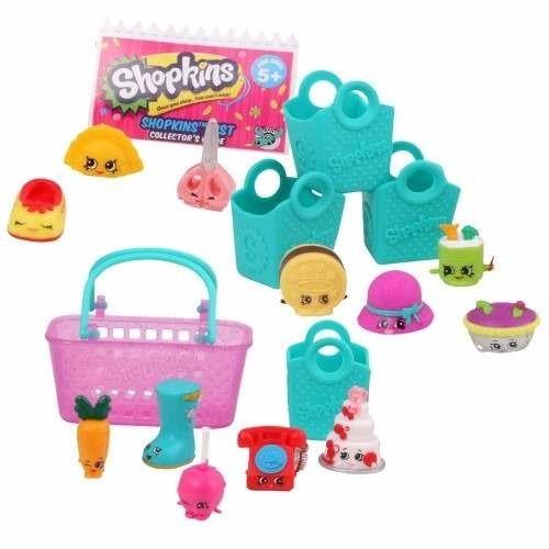 shopkins pack x12 + 4 canastitas + 1 canasto planeta juguete