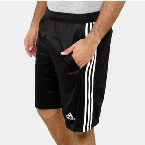 short adidas d2m 3 stripes - negro y blanco original