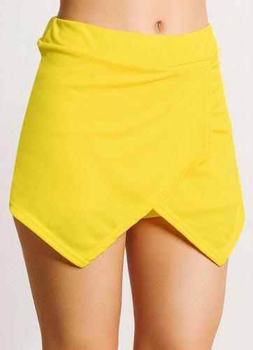 short assimétrico amarelo p m g
