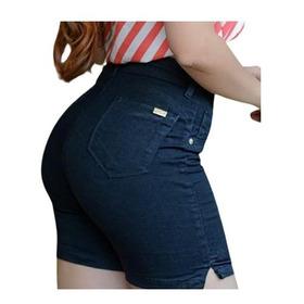 Short Bermuda Jeans Meia Coxa Cintura Alta Lycra