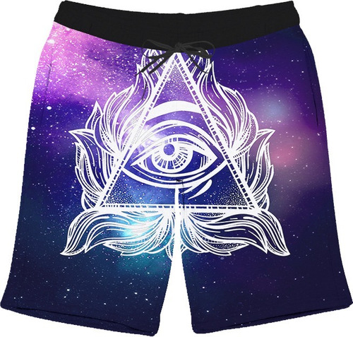 short bermuda olho ilumination rave full 3d psicodélico top!