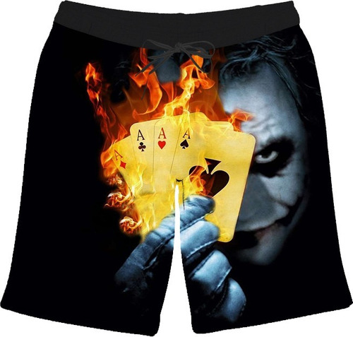 short bermuda palhaço clown joker cartas filme fogo promoção