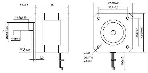 short body nema 17 bipolar step motor 3.5v 1a 18.4oz.in-13nc