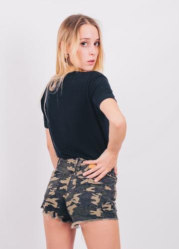 short camuflado elastizado mujer