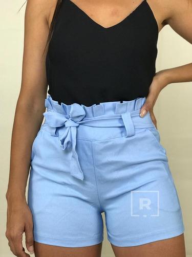 short cintura alta bengaline clochard laço roupas femininas