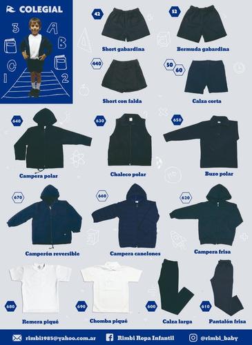 short colegial gabardina azul talle 2 a 16