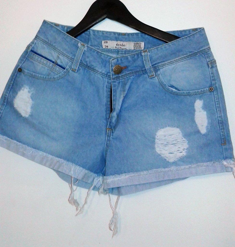 106a0e4eef short dama mujer jean pantalón corto roturas azul claro. Cargando zoom.