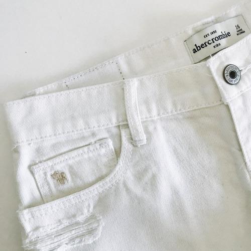 short de jean blanco abercrombie kids