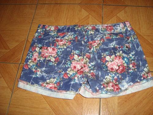 short de jeans floreado talla m - 38- 40 a solo $ 5500